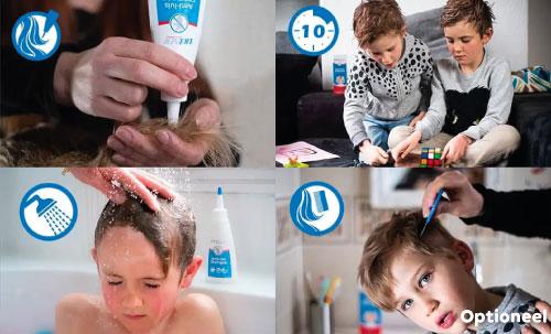 Behandel stappen liceer: STAP 1: Breng Licener aan op droog haar. Masseer de shampoo goed in om al het haar vanaf de hoofdhuid tot in de puntjes te bedekken. STAP 2: Laat 10 minuten intrekken. STAP 3: Spoel de anti-luisshampoo uit met lauwwarm water. Het is niet nodig om het haar na te wassen met normale shampoo. STAP 4 (OPTIONEEL): Na de behandeling kunnen er soms luisrestanten in het haar blijven kleven. In dit geval kunt u ervoor kiezen om de dode luizen en neten uit het haar te kammen met een luizenkam.